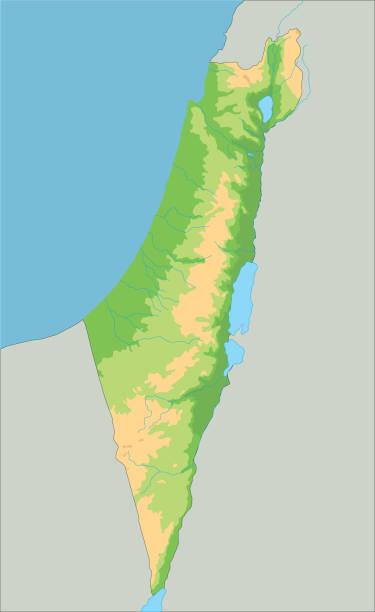 hochdetaillierte israelische physikalische karte. - haifa stock-grafiken, -clipart, -cartoons und -symbole