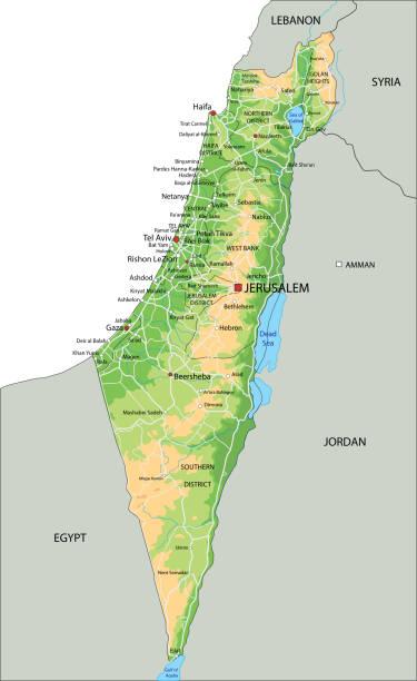 hochdetaillierte israelische physikalische karte mit beschriftung. - haifa stock-grafiken, -clipart, -cartoons und -symbole