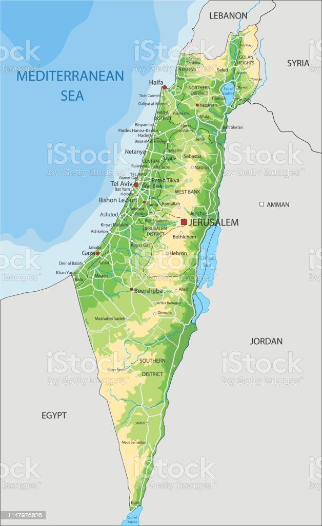 Cartina Fisica Palestina.Alta Mappa Fisica Di Israele Dettagliata Con Etichettatura Immagini Vettoriali Stock E Altre Immagini Di Alture Del Golan Istock