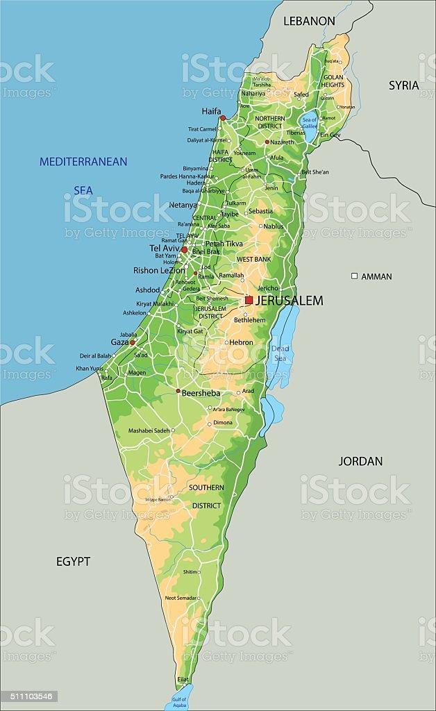 Cartina Israele Fisica.Alta Dettagliata Israele Fisica Mappa Con Letichettatura