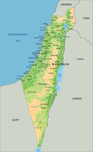 Geografica Cartina Fisica Israele.Alta Dettagliata Israele Fisica Mappa Con Letichettatura Immagini Vettoriali Stock E Altre Immagini Di Alpi Istock