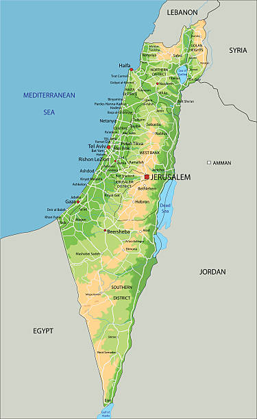 ilustraciones, imágenes clip art, dibujos animados e iconos de stock de de alta detallada israel físico mapa con la etiqueta. - mapa de oriente medio