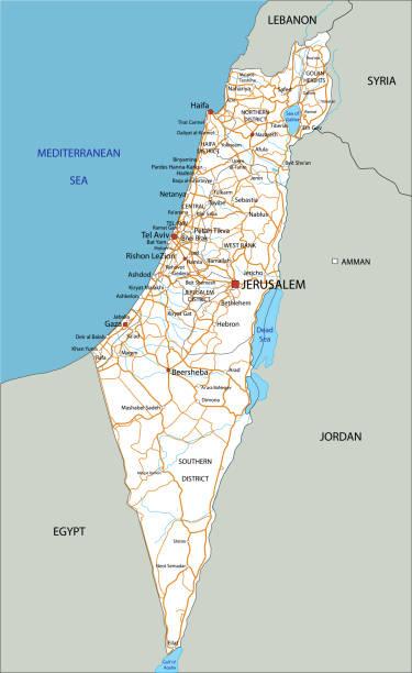 hochdetaillierter israel-fahrplan mit beschriftung. - haifa stock-grafiken, -clipart, -cartoons und -symbole