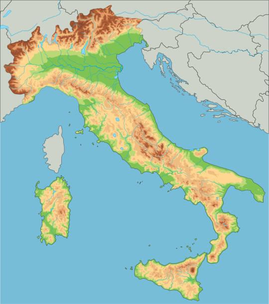 illustrazioni stock, clip art, cartoni animati e icone di tendenza di mappa fisica dell'italia ad alto dettaglio. - milan fiorentina