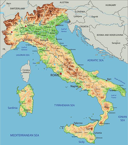 illustrazioni stock, clip art, cartoni animati e icone di tendenza di alta dettagliata italia fisica mappa. - sardegna