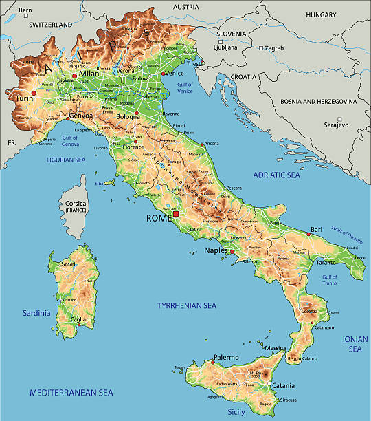 stockillustraties, clipart, cartoons en iconen met high detailed italy physical map. - zuid europa