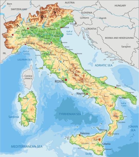 illustrazioni stock, clip art, cartoni animati e icone di tendenza di mappa fisica dell'italia ad alta dettaglio con etichettatura. - sardegna