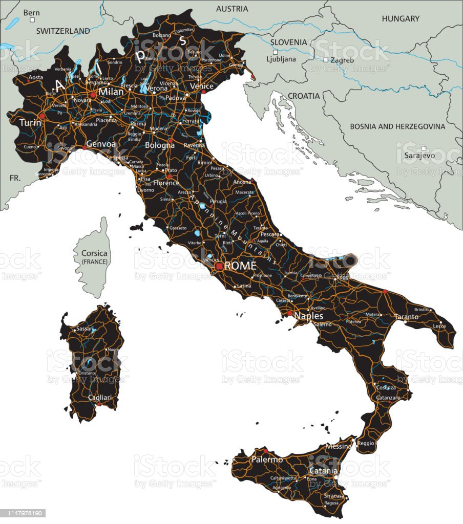 Cartina Stradale Di Italia.Mappa Stradale Di Italia Ad Alta Dettaglio Con Etichettatura Immagini Vettoriali Stock E Altre Immagini Di Carta Geografica Istock