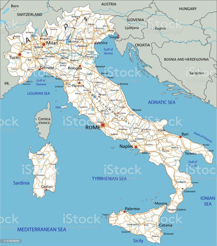 Cartina Stradale Di Italia.Mappa Stradale Di Italia Ad Alta Dettaglio Con Etichettatura Immagini Vettoriali Stock E Altre Immagini Di Bianco Istock