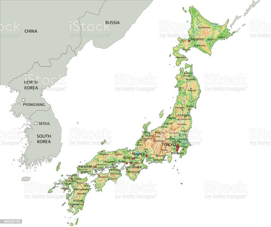 Japan Karte Physisch.Hoch Detaillierte Japan Physische Karte Stock Vektor Art Und
