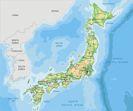 High detailed Japan physical map with labeling.