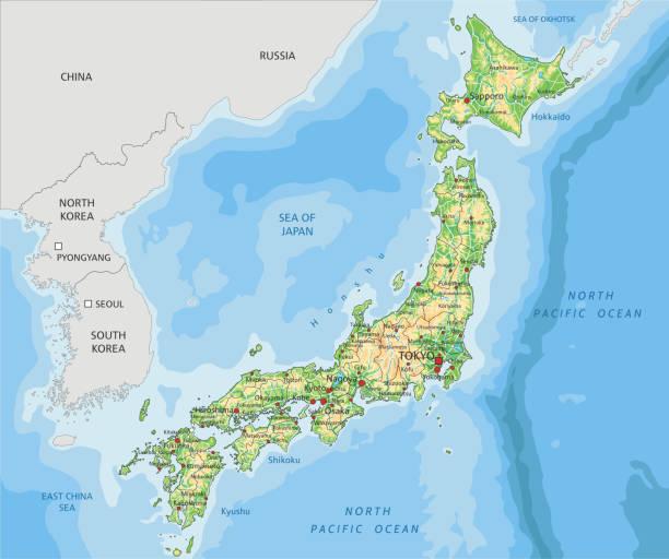 高詳細的日本物理地圖與標籤。 - hiroshima 幅插畫檔、美工圖案、卡通及圖標