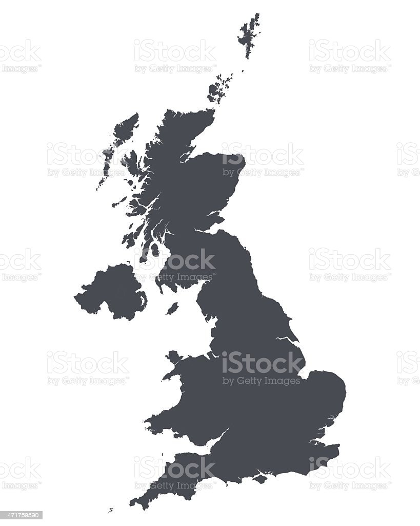 High detailed map of United Kingdom vector art illustration