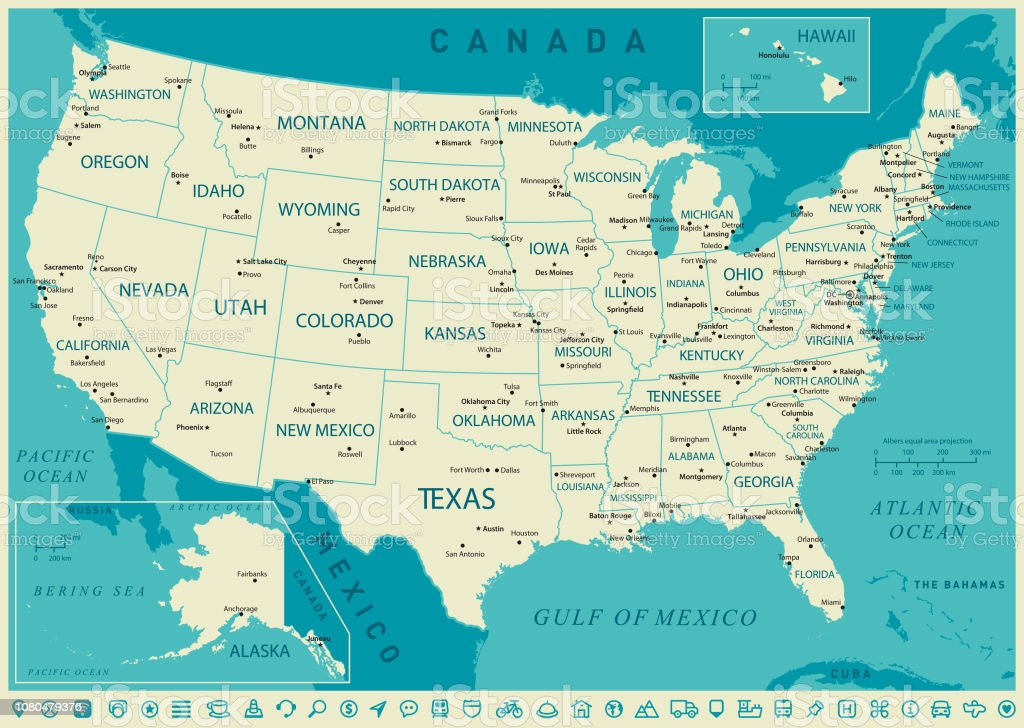 Usa High Detailed Map Vector Illustration Stock