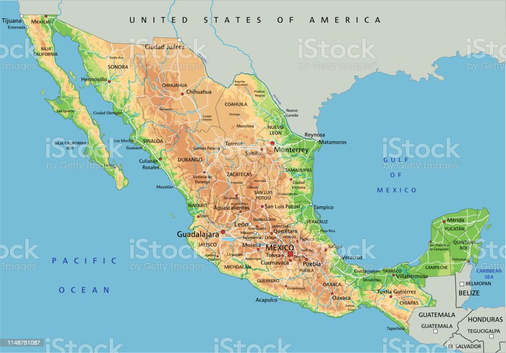 High Detailed Mexico Physical Map With Labeling Stock Illustration ...