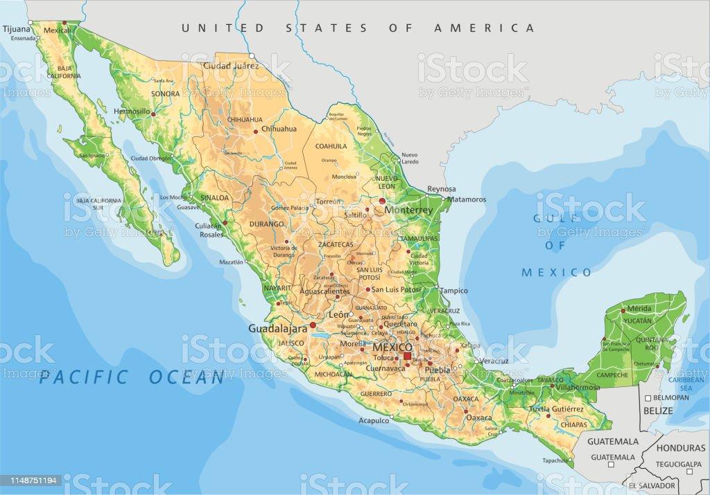Cartina Fisica America Latina.Mappa Fisica Del Messico Con Etichettatura Immagini Vettoriali Stock E Altre Immagini Di America Centrale Istock