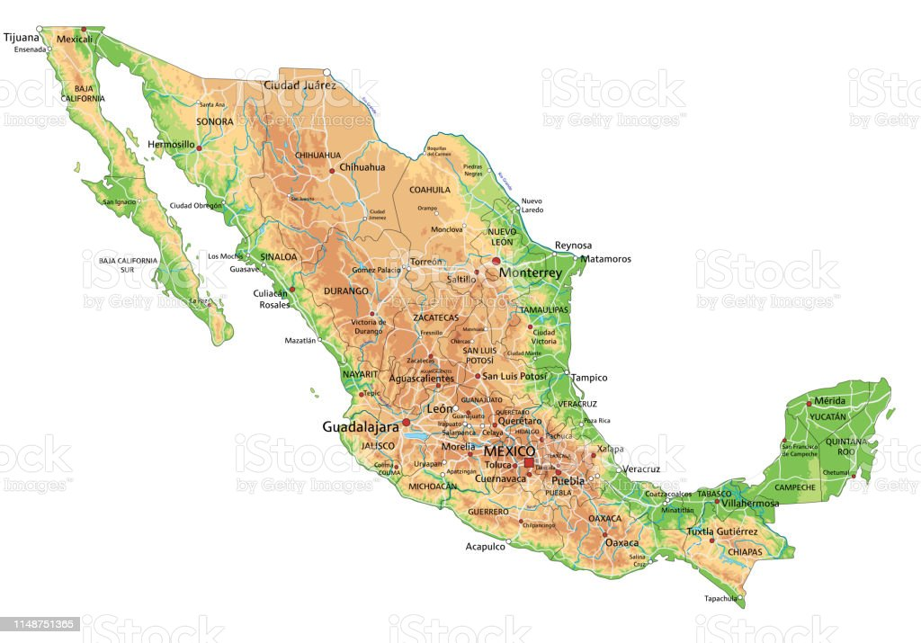 High Detailed Mexico Physical Map With Labeling Stock Vector ...