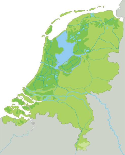 stockillustraties, clipart, cartoons en iconen met hoge gedetailleerde nederlandse fysieke kaart. - eindhoven
