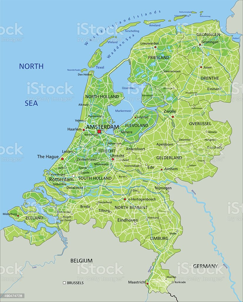 Cartina Amsterdam Download.High Detailed Netherlands Physical Map Stock Illustration