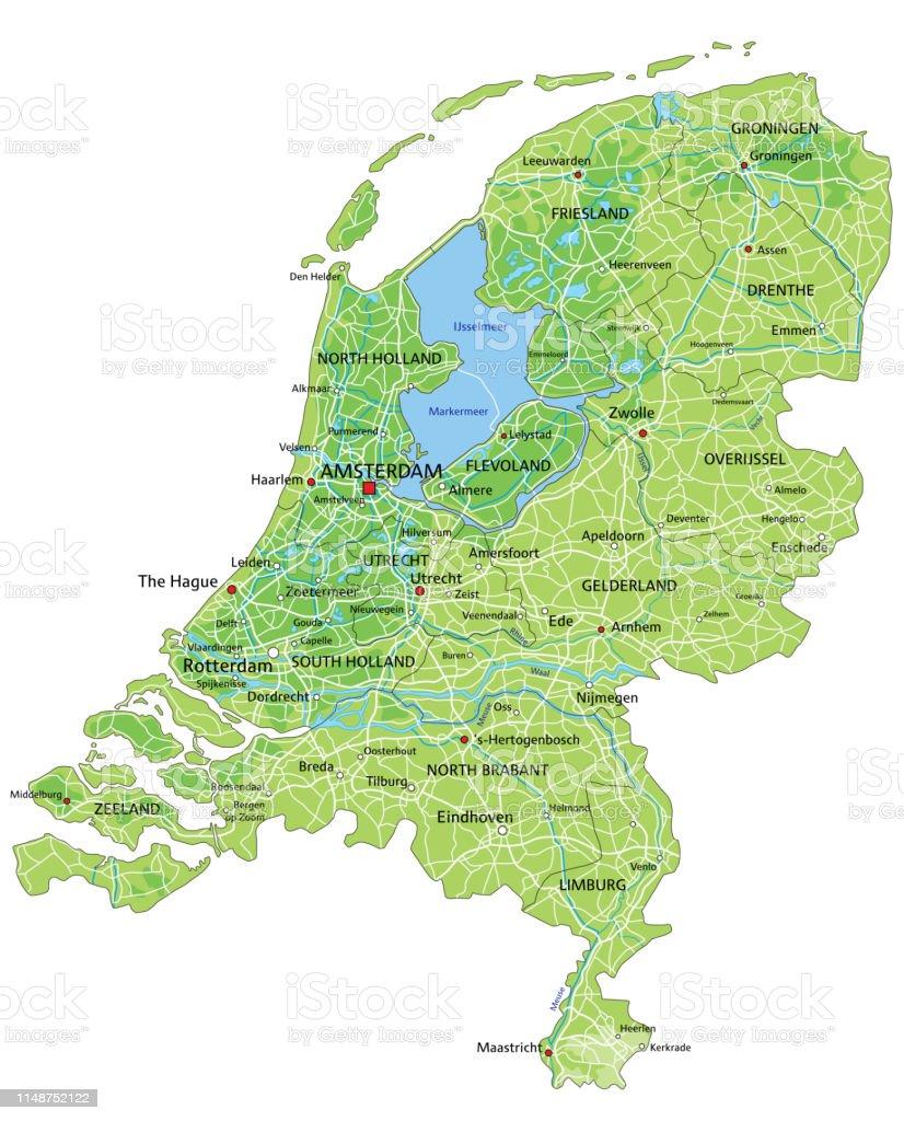 Olanda Cartina Fisica.Mappa Fisica Olandese Ad Alta Dettaglio Con Etichettatura Immagini Vettoriali Stock E Altre Immagini Di Amsterdam Istock