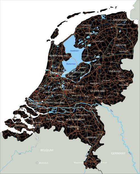 stockillustraties, clipart, cartoons en iconen met hoge gedetailleerde nederland routekaart met labeling. - eindhoven