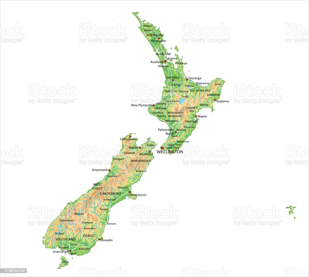 New Zealand Map Labeled.High Detailed New Zealand Physical Map With Labeling Stock Illustration Download Image Now