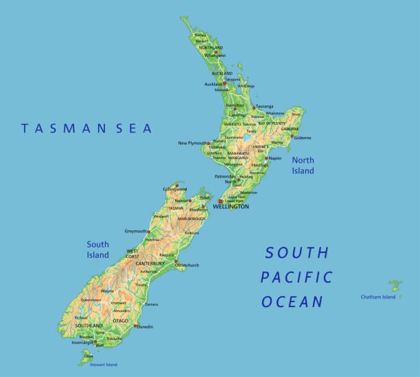 레이블이 높은 상세한 뉴질랜드 물리적 지도. - 태즈먼 해 stock illustrations