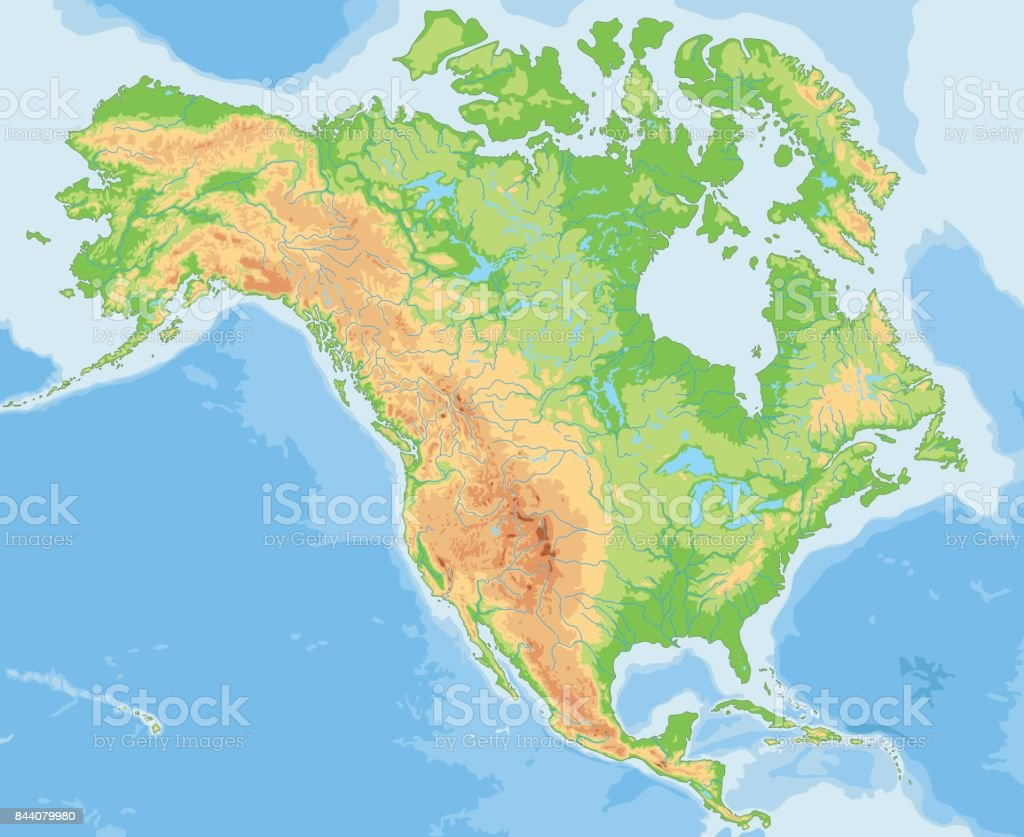 High Detailed North America Physical Map Stock Illustration ...