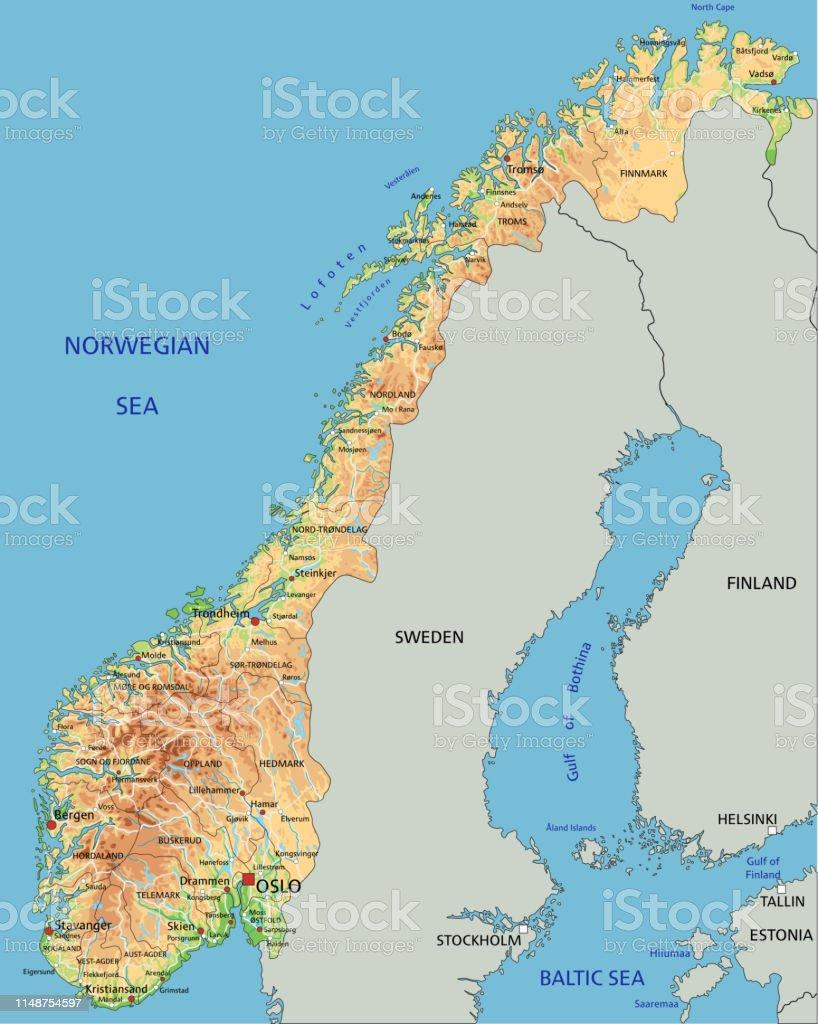 Cartina Geografica Norvegia Fisica.Mappa Fisica Norvegese Ad Alta Dettaglio Con Etichettatura Immagini Vettoriali Stock E Altre Immagini Di Astratto Istock