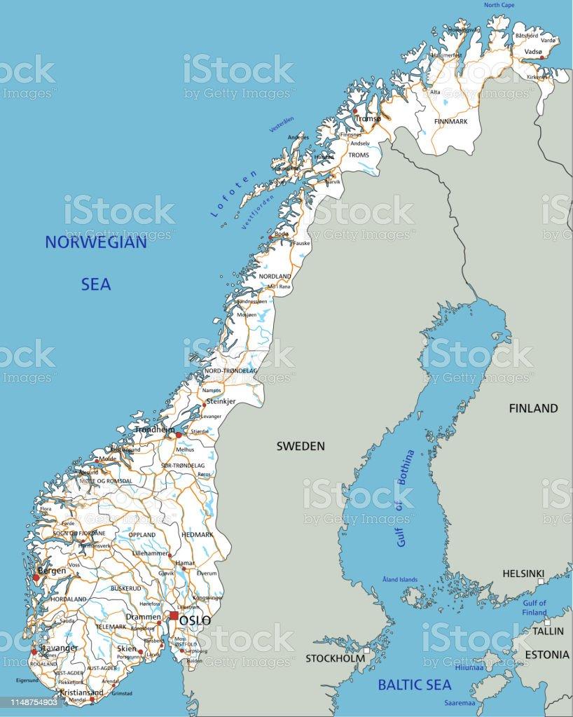 Norvegia Cartina Stradale.Mappa Stradale Norvegese Ad Alta Dettaglio Con Etichettatura Immagini Vettoriali Stock E Altre Immagini Di Bergen Istock