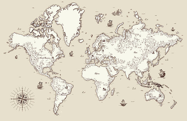 high detailed, old world map with decorative elements - eski stock illustrations