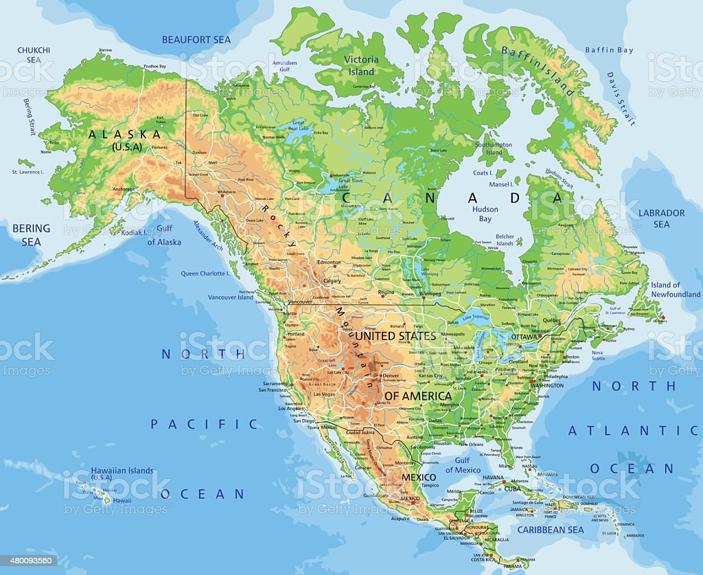 High detailed physical map of  North America. vector art illustration