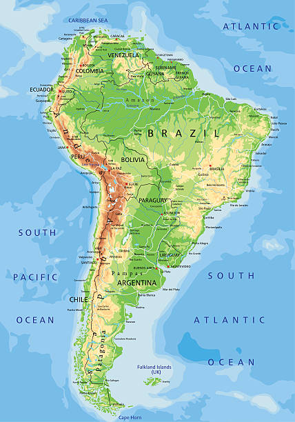 high detailed physical map of south america. - south america maps stock illustrations, clip art, cartoons, & icons