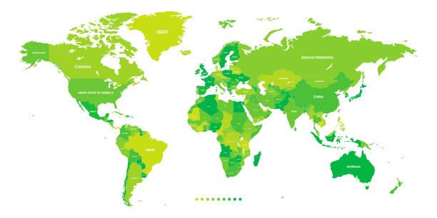 Hoch detaillierte politische Länder Weltkarte. Vektor-Illustration – Vektorgrafik