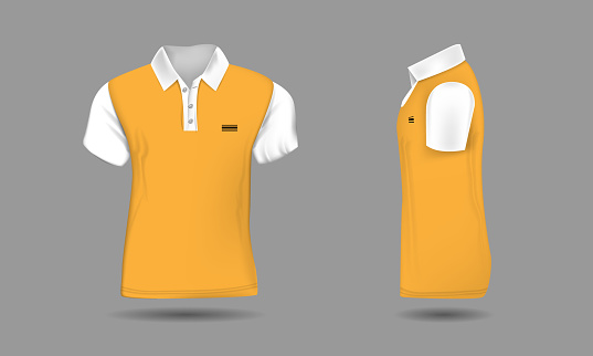 High detailed realistic polo t-shirt for your design. White and orange color. Vector illustration. Front and side view