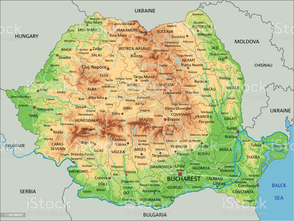 Image of: High Detailed Romania Physical Map With Labeling Stock Illustration Download Image Now Istock
