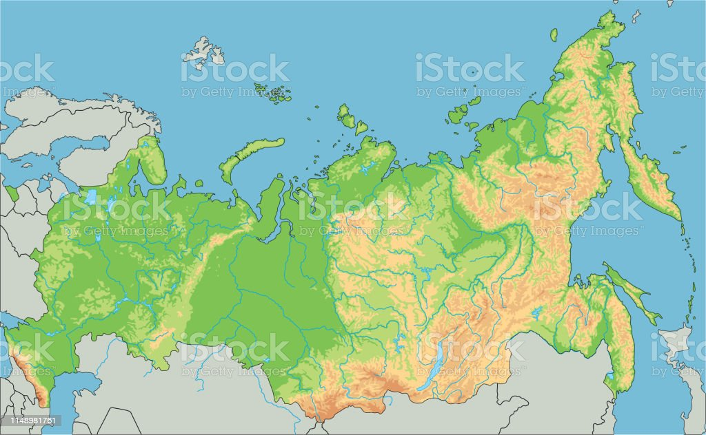 Image of: High Detailed Russia Physical Map Stock Illustration Download Image Now Istock