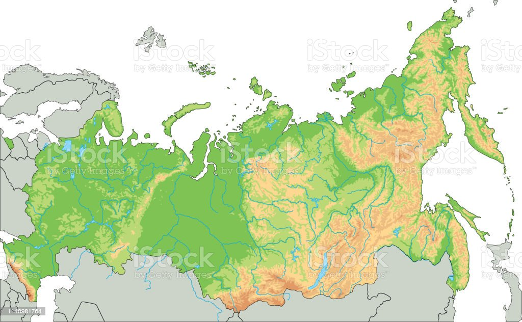 High Detailed Russia Physical Map Stock Illustration Download Image Now Istock