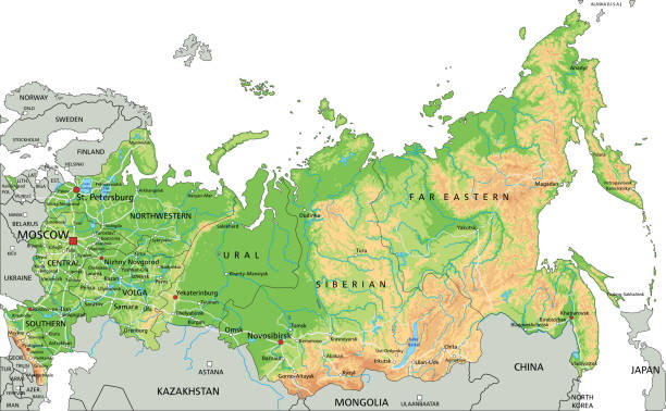 Best Ural Mountains Map Illustrations, Royalty-Free Vector ...