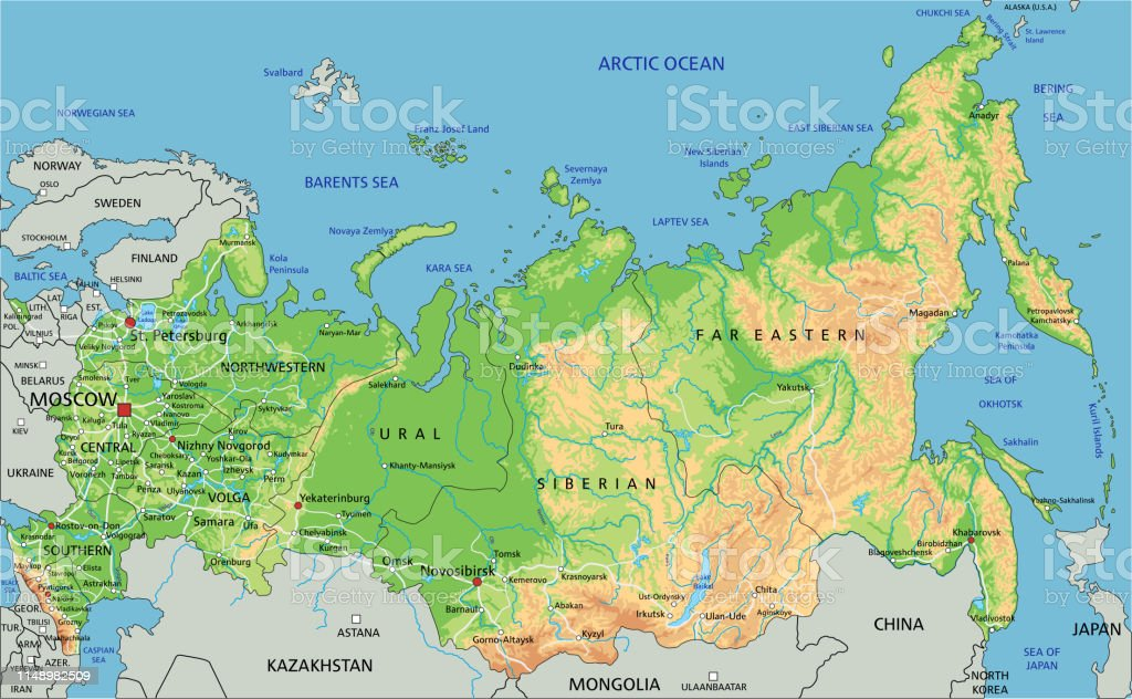 Image of: High Detailed Russia Physical Map With Labeling Stock Illustration Download Image Now Istock