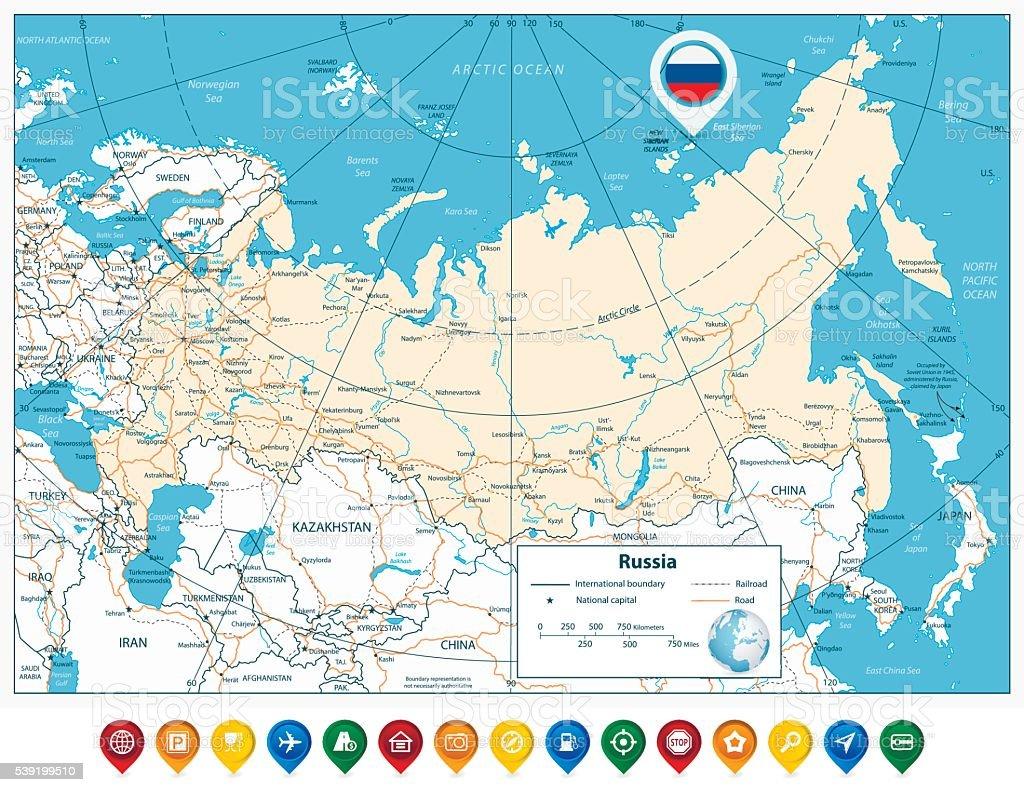 Hoch Detaillierte Russland Strassenkarte Und Farbenfrohe Karte