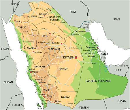 High Detailed Saudi Arabia Physical Map With Labeling Stock ... on outline map of il, topographic map of il, blank map of il, color map of il,