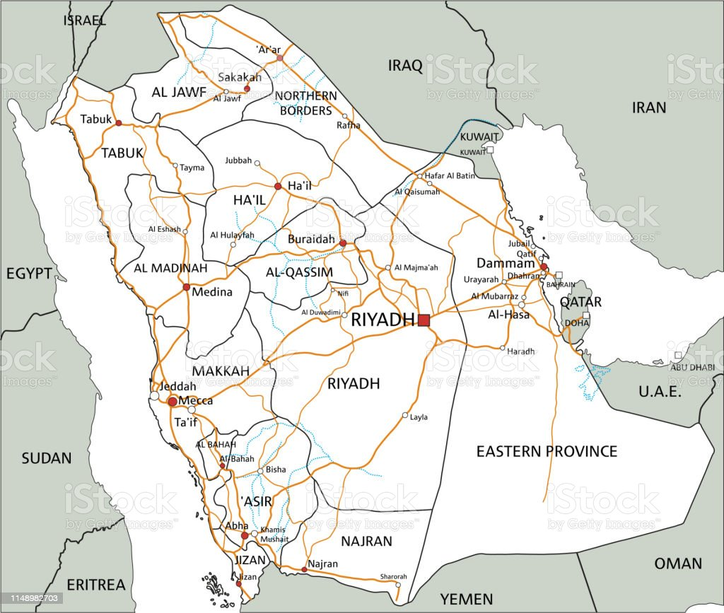 High Detailed Saudi Arabia Road Map With Labeling Stock ...