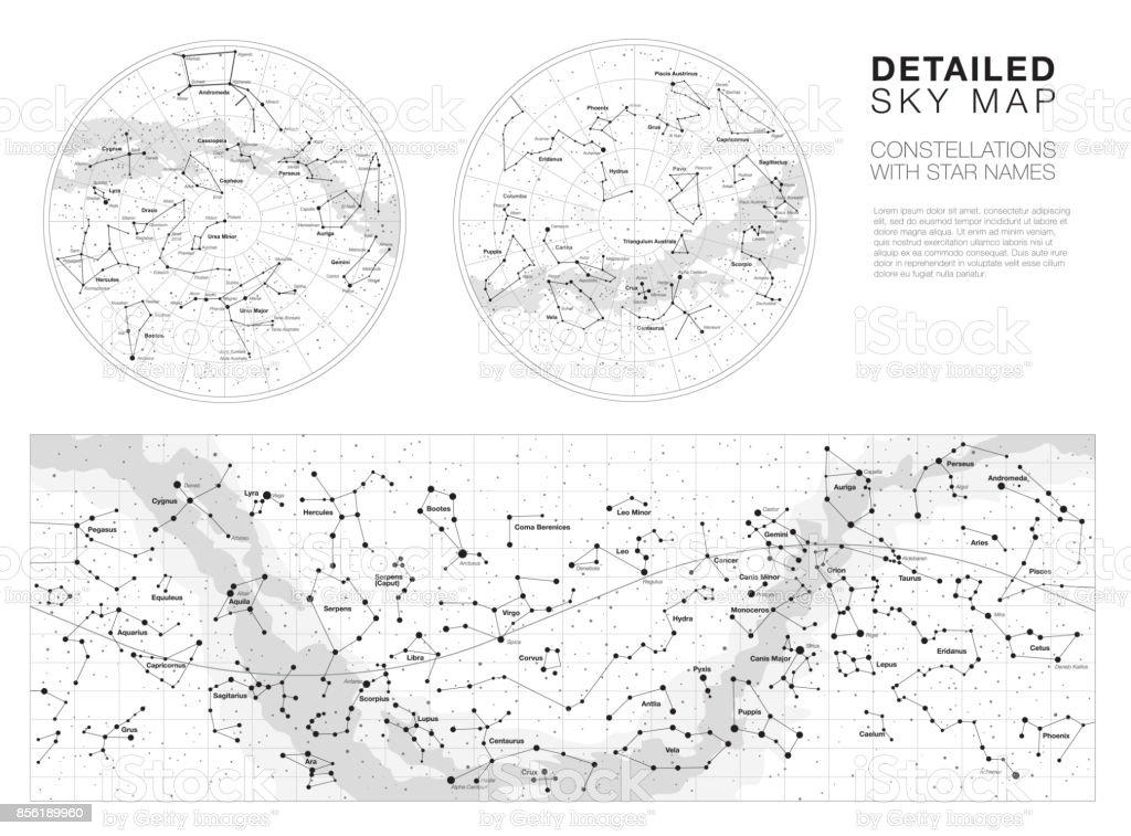 Alto céu detalhado mapas set vector - ilustração de arte em vetor