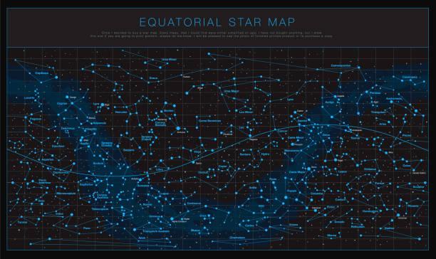 ilustrações de stock, clip art, desenhos animados e ícones de high detailed sky maps vector set - mapa das estrelas