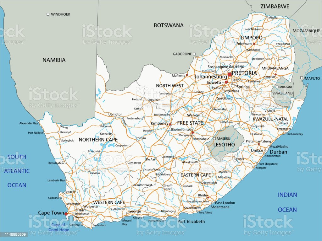 Africa Detailed Map.High Detailed South Africa Road Map With Labeling Stock
