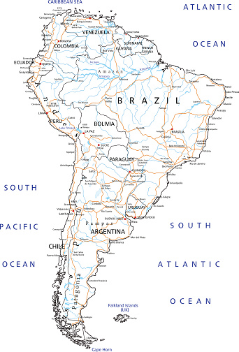 High Detailed South America Road Map With Labeling Stock Illustration on road map biology, features south america, destination south america, road map scandinavia, library south america, camping south america, driving in columbia south america, road map brazil, road map buenos aires, hotels south america, water south america, trip south america, road map anguilla, road map zimbabwe, tourist south america, landlocked country south america, lake nicaragua map central america, road map martinique, blog south america, road map suriname,