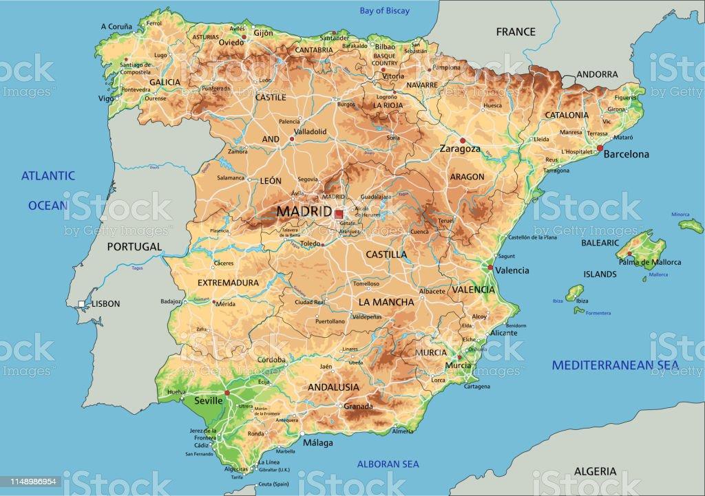 Mapa Fisico De España.Ilustracion De Alto Mapa Fisico Detallado De Espana Con