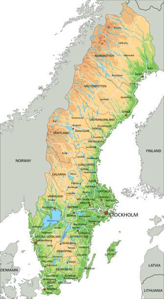 bildbanksillustrationer, clip art samt tecknat material och ikoner med hög detaljerad sverige fysisk karta med märkning. - sweden map
