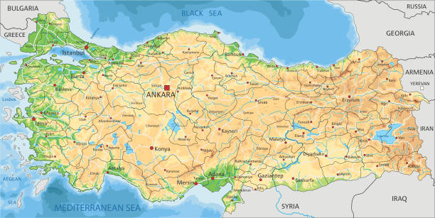 high detailed turkey physical map with labeling. - turcja stock illustrations